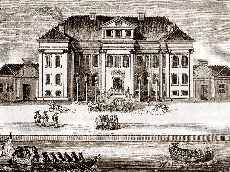 Зимний дворец с гравюры 1716 года эпохи Петра Первого. В этом дворце жили, правили и умирали многие российские императоры в том числе и Петр Первый.