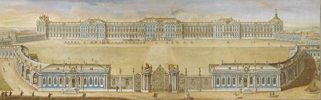 Большой Екатерининский дворец. Официальная летняя резиденция трёх российских монархов — Екатерины I, Елизаветы Петровны и Екатерины II. Здание заложено в 1717 году. Перестроен Растрелли в 1752—1756 годах.