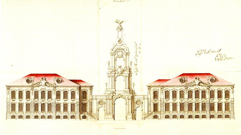 Проект рундальского дворца - летней резиденции Бирона. Первый камень заложен 24 мая 1736 года. В 1740 году после государственного переворота Бирон был арестован и сослан, в Курляндию он вернулся только в 1763 году. После чего к 1768 году Растрелли завершил внутреннюю отделку помещений дворца.