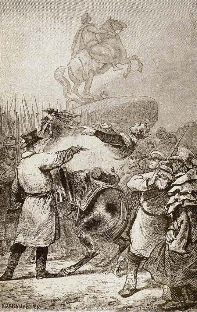 Выстрел в Милорадовича 14 декабря 1825 года. Гравюра с рисунка, принадлежащего Г. А. Милорадовичу. Когда Константин Павлович отказался царствовать и декабристы вышли на Сенатскую площадь, Милорадович явился при полном параде на площадь убеждать войска, уже присягнувшие Константину, переприсягнуть Николаю. В этот день он получил две раны, одна из которых оказалась смертельной. Одну от Каховского (выстрелом в спину) и вторую — штыковую, от Оболенского.